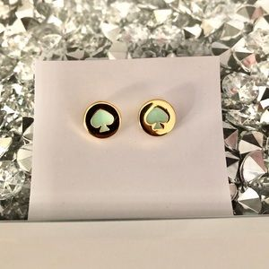 Kate Spade Spot the Spade Gold Stud Logo Earrings